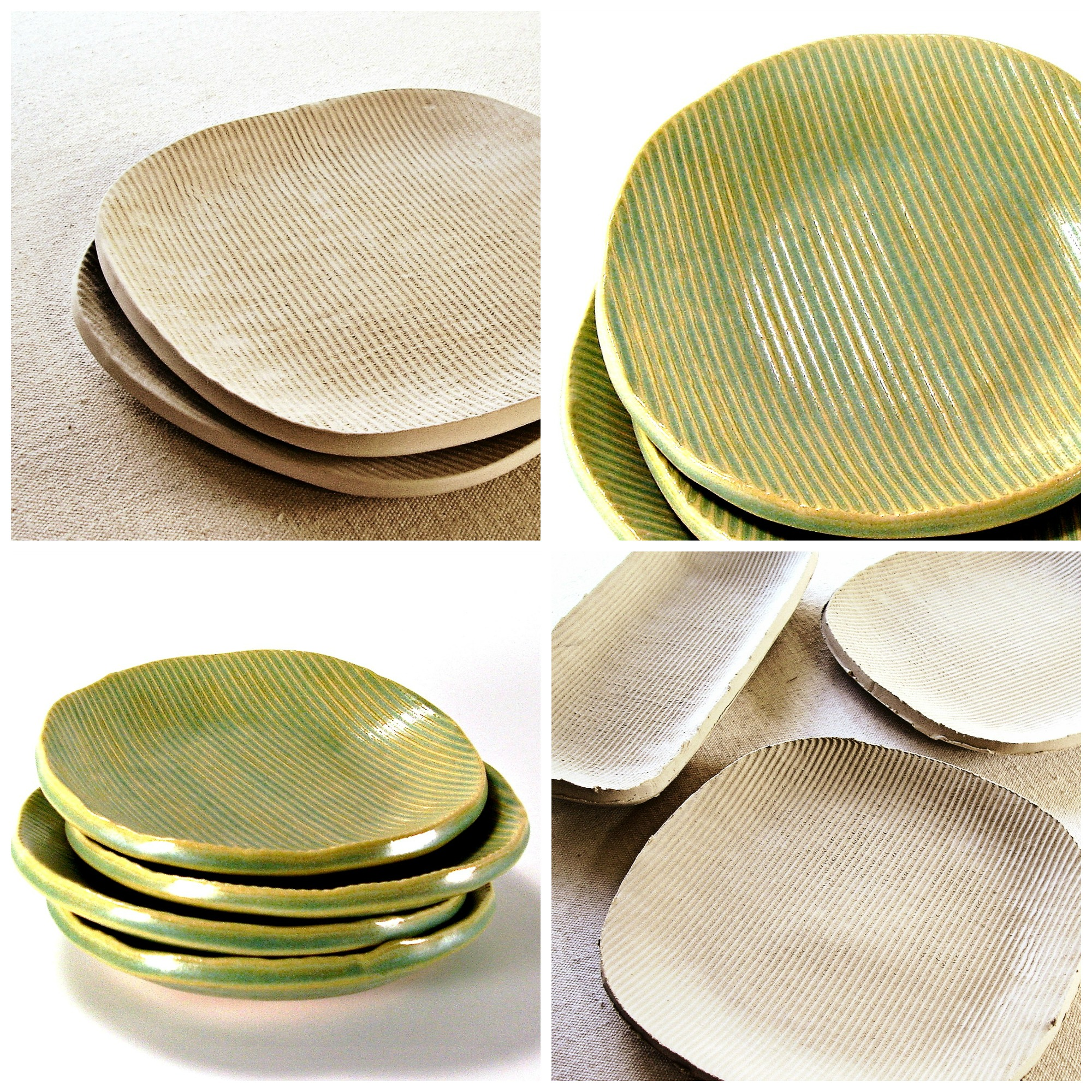 ceramic plates in progress tropical breeze melinda marie alexander ravenhillpottery.etsy.comjpg