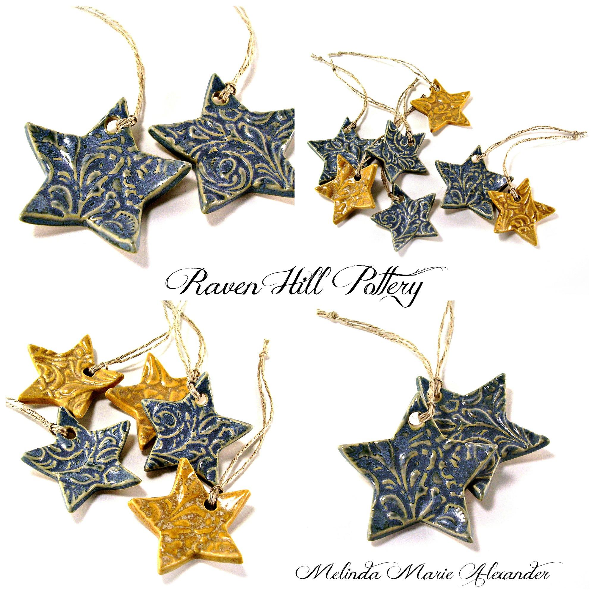 star ornaments melinda marie alexander ravenhillpottery.etsy.com with textjpg