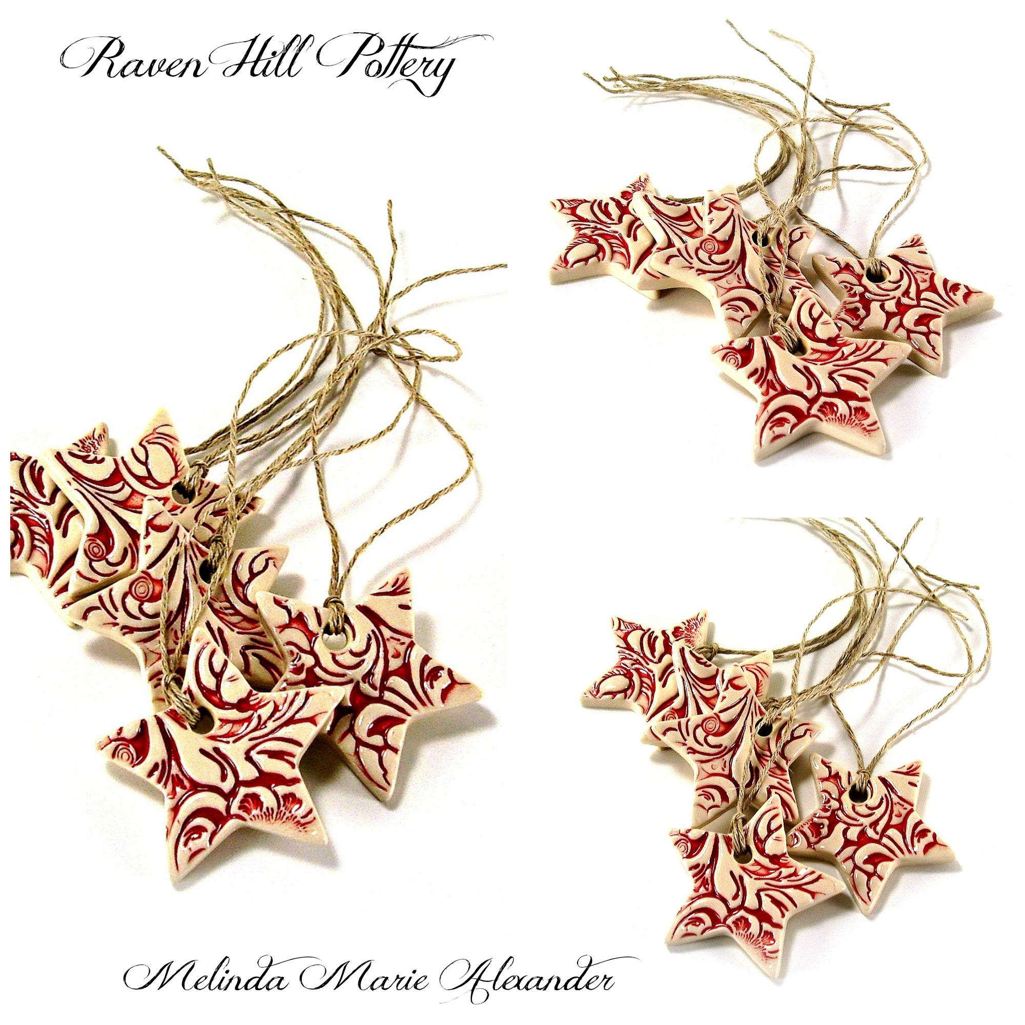 star ornaments red melinda marie alexander ravenhillpottery.etsy.com with textjpg